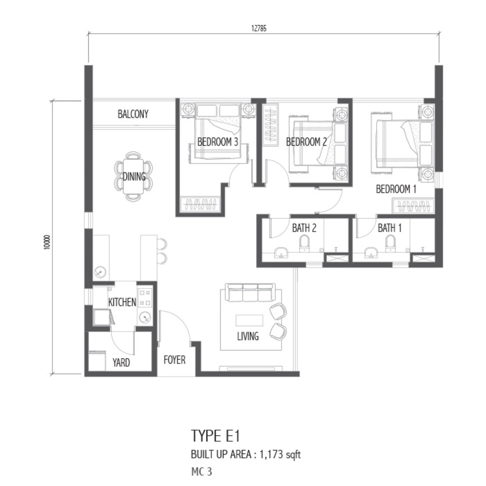 Setia Sky 88 Type E1 - Nube Floor Plan