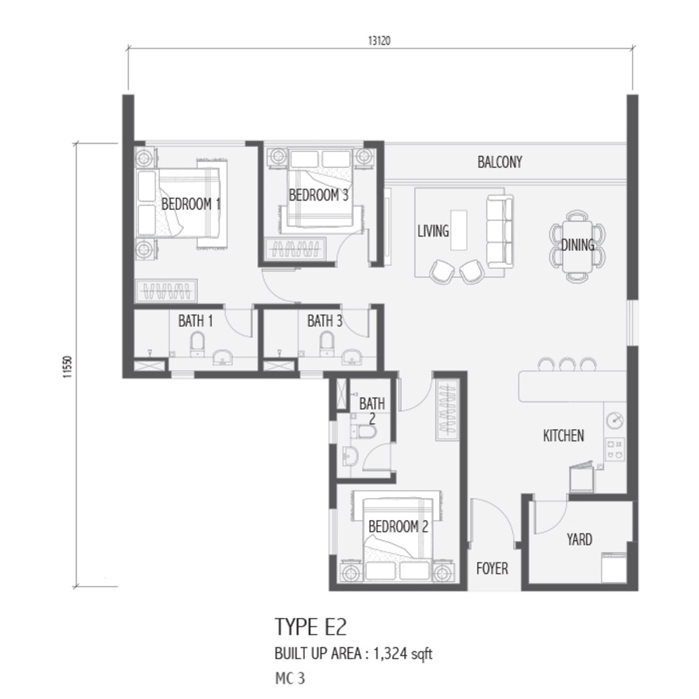 Setia Sky 88 Type E2 - Nube Floor Plan
