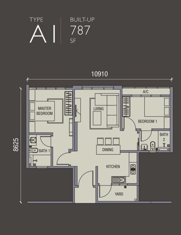 La Thea Residences Type A1 Floor Plan