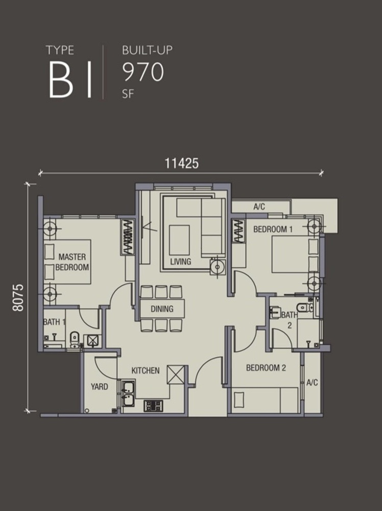 La Thea Residences Type B1 Floor Plan