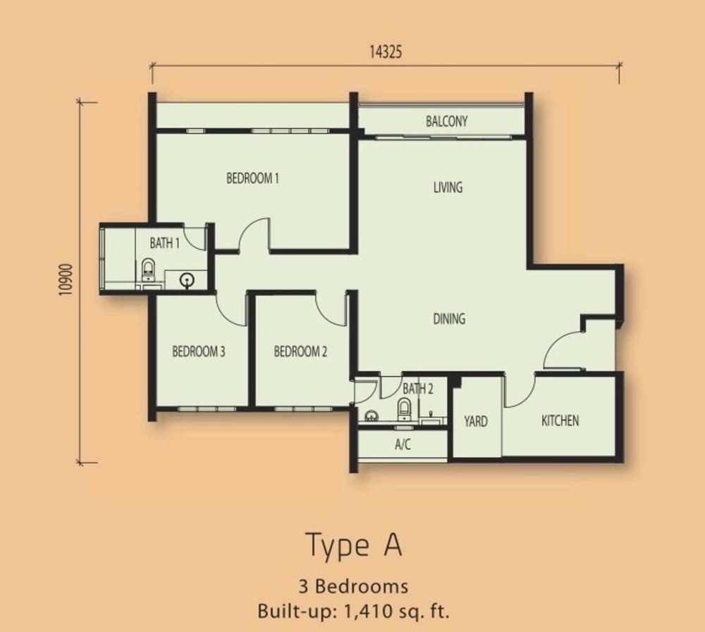 The Clio Residences @ IOI Resort City Type A Floor Plan