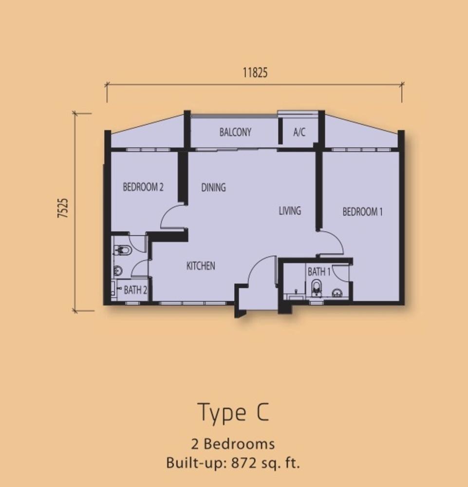 The Clio Residences @ IOI Resort City Type C Floor Plan