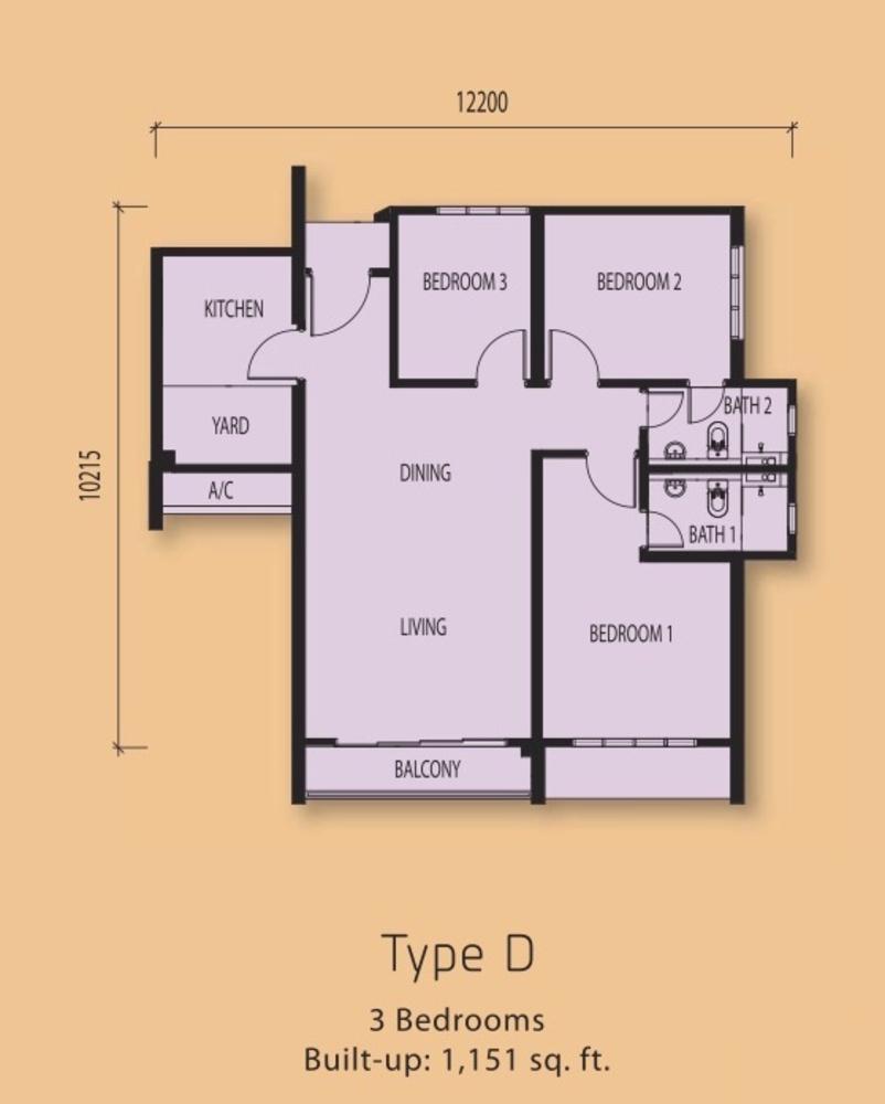 The Clio Residences @ IOI Resort City Type D Floor Plan