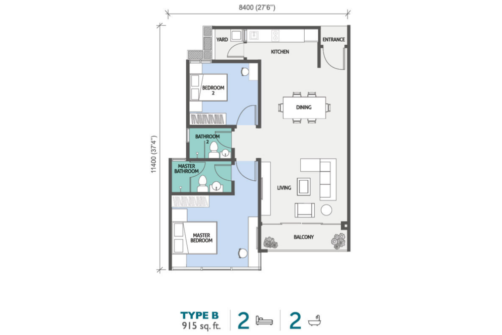PJ Midtown Type B Floor Plan