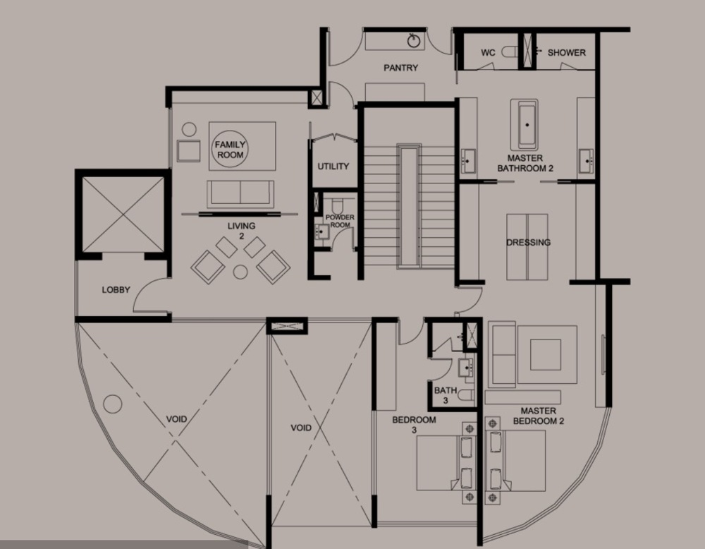 DC Residency Type PH1A (Lower) Floor Plan