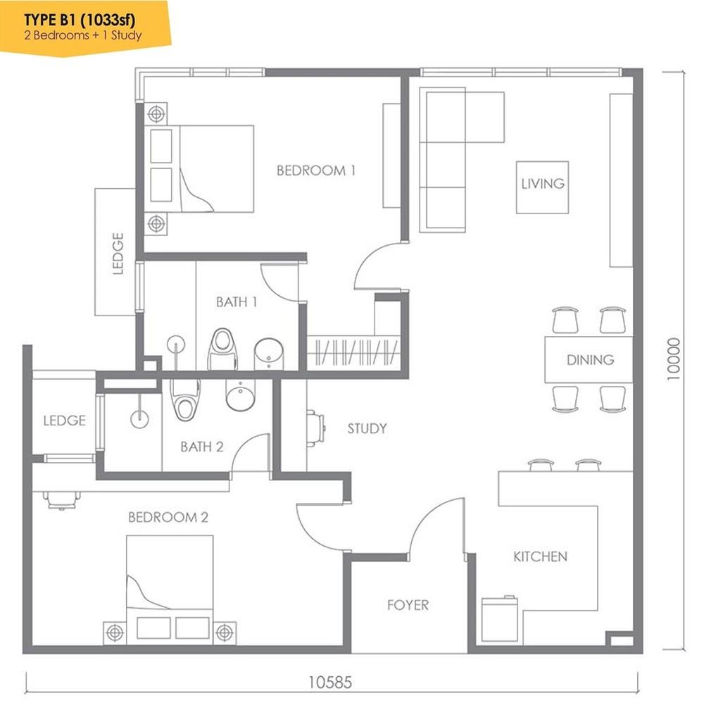 Urbana Residences @ Ara Damansara Type B1 Floor Plan