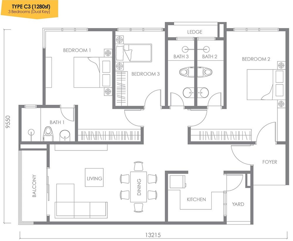 Urbana Residences @ Ara Damansara Type C3 (Dual Key) Floor Plan