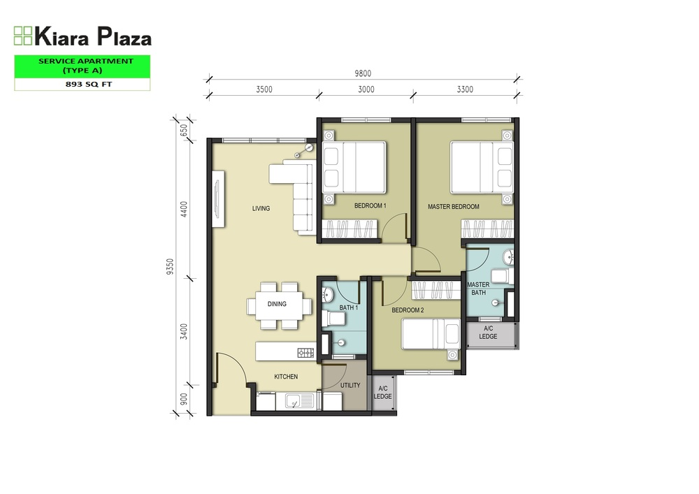 Kiara Plaza Type A Floor Plan
