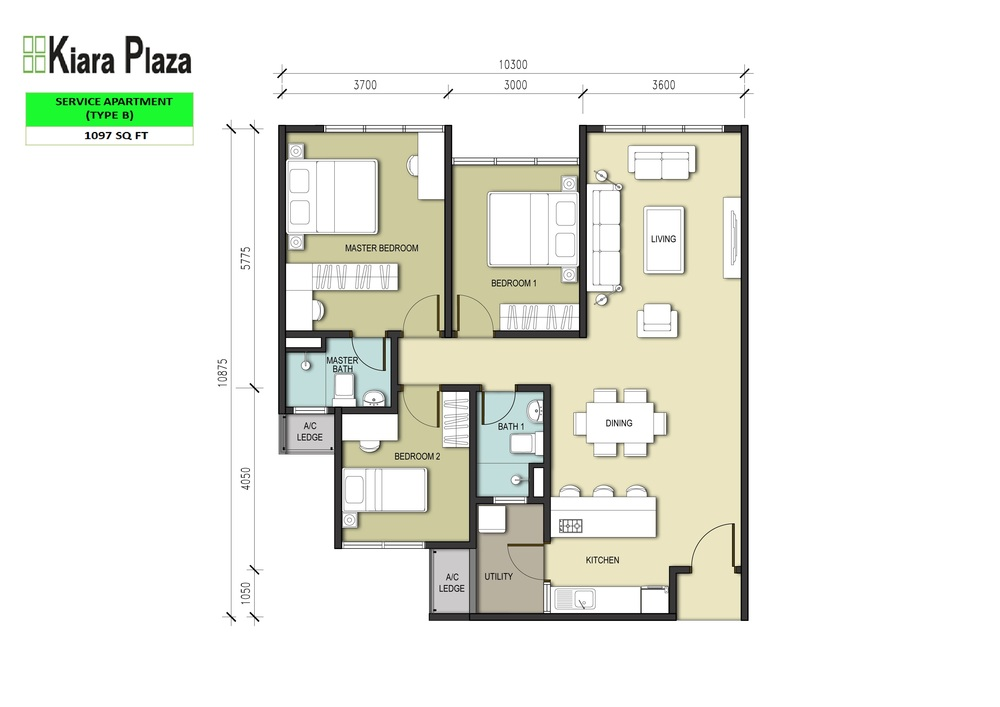 Kiara Plaza Type B Floor Plan