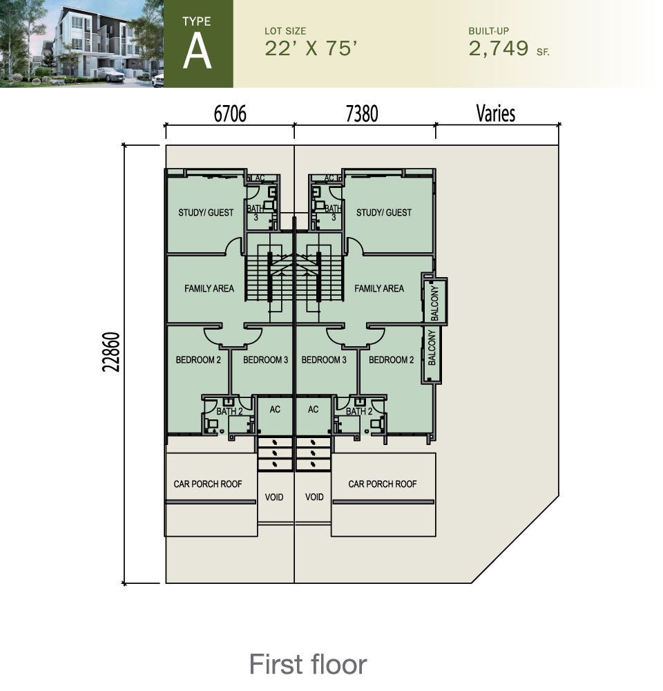 Tiara South Type A Floor Plan