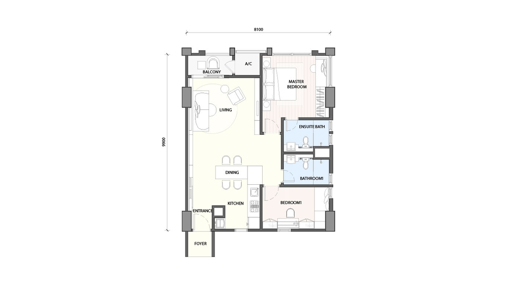 Radia Residences Type 2A1 Floor Plan
