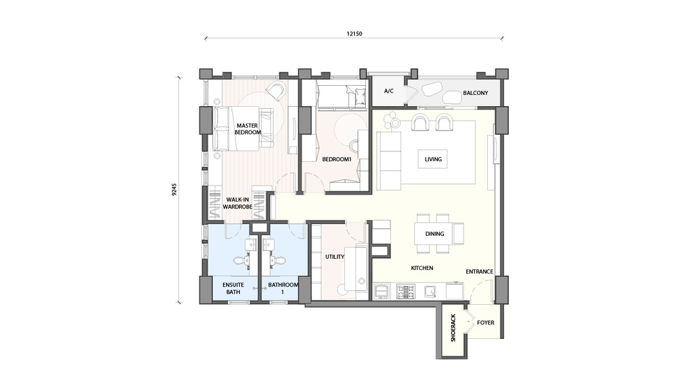 Radia Residences Type 4C2 Floor Plan