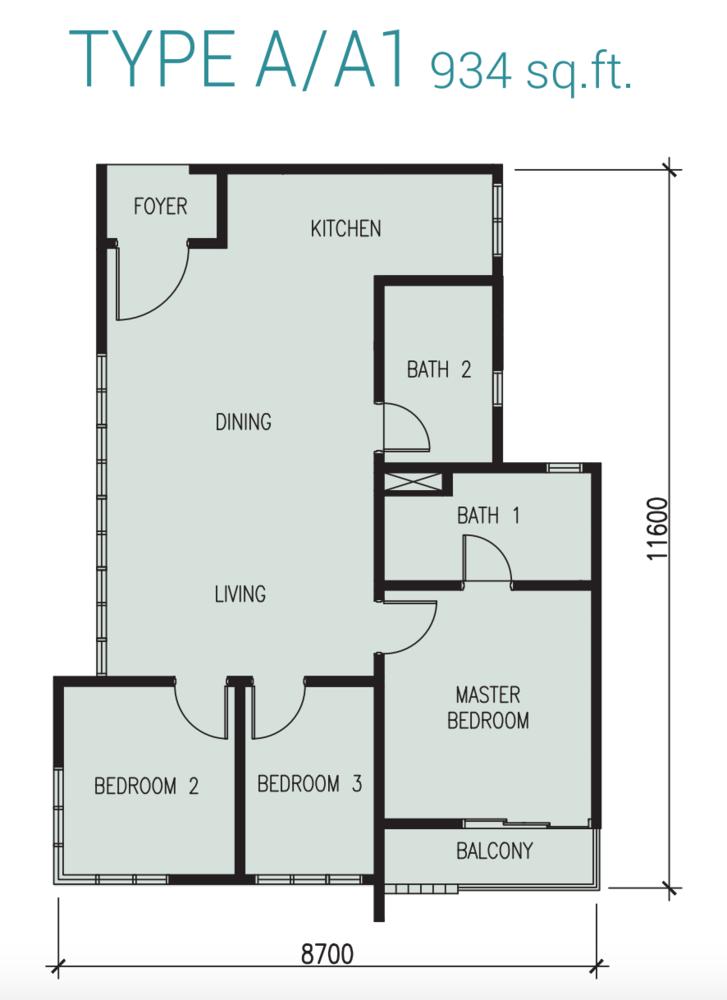 Court 28 @ KL City Type A/A1 Floor Plan