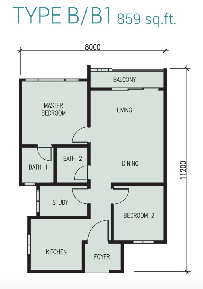 Court 28 @ KL City Type B/B1 Floor Plan