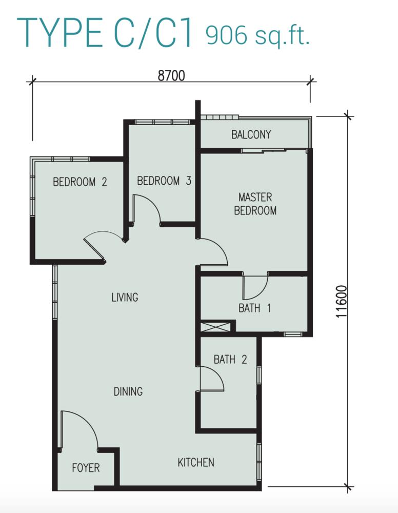 Court 28 @ KL City Type C/C1 Floor Plan