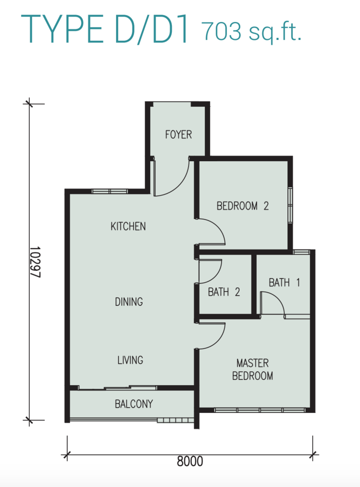 Court 28 @ KL City Type D/D1 Floor Plan