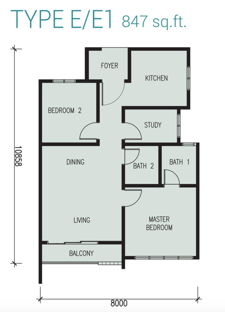 Court 28 @ KL City Type E/E1 Floor Plan
