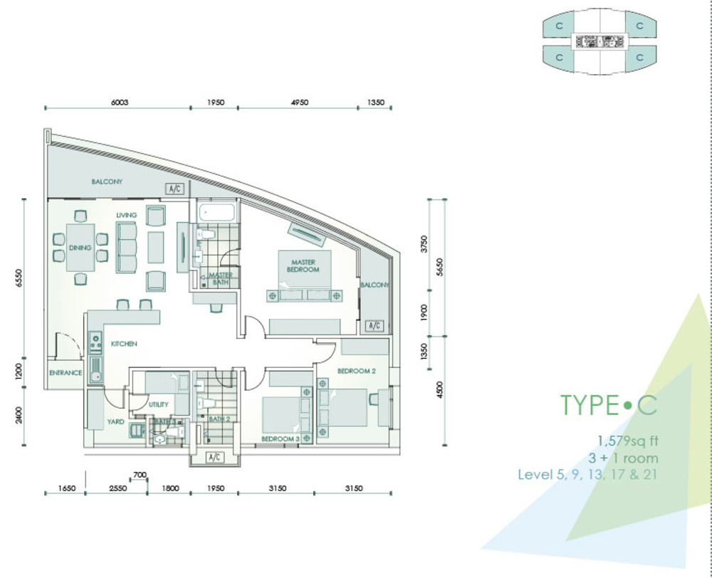 Cristal Residence Condominium - Type C Floor Plan