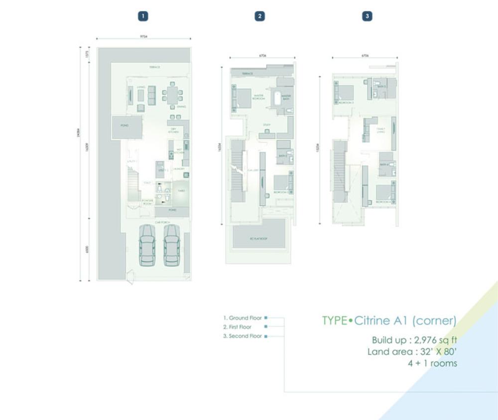 Cristal Residence Villa - Citrine A1 (Corner Unit) Floor Plan