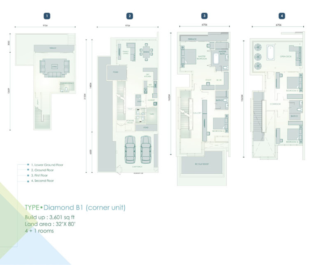 Cristal Residence Villa - Diamond B1 (Corner Unit) Floor Plan