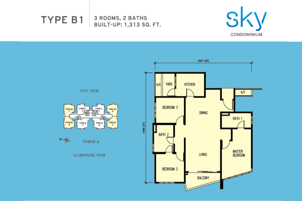 Sky Condominium Type B1 Floor Plan