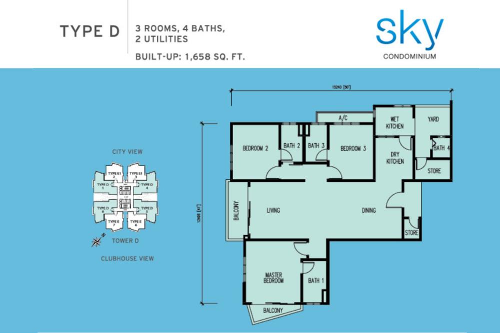 Sky Condominium Type D Floor Plan
