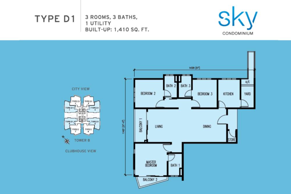 Sky Condominium Type D1 Floor Plan
