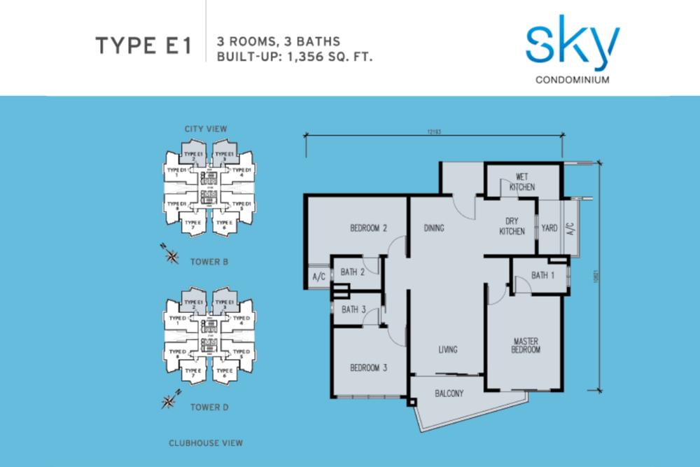 Sky Condominium Type E1 Floor Plan