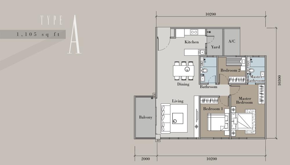 The Andes Condominium - Type A Floor Plan