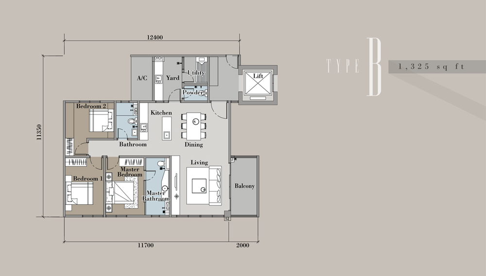 The Andes Condominium - Type B Floor Plan