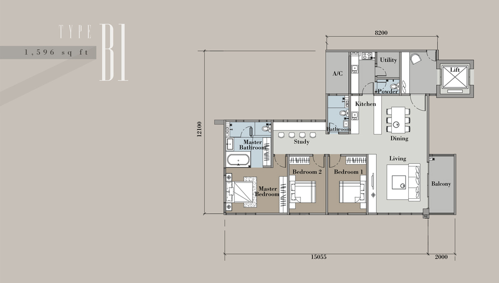 The Andes Condominium - Type B1 Floor Plan