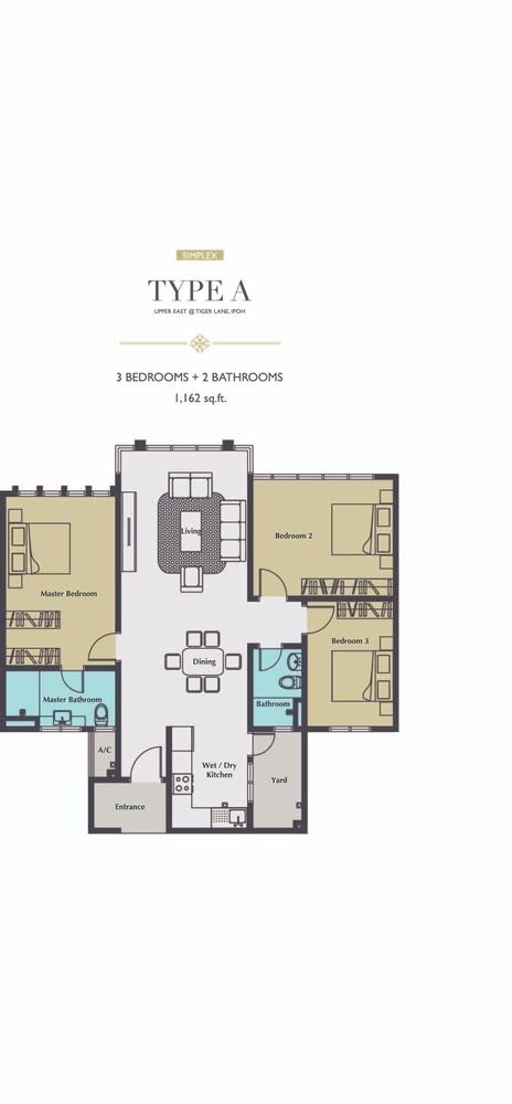 Upper East @ Tiger Lane Type A Floor Plan