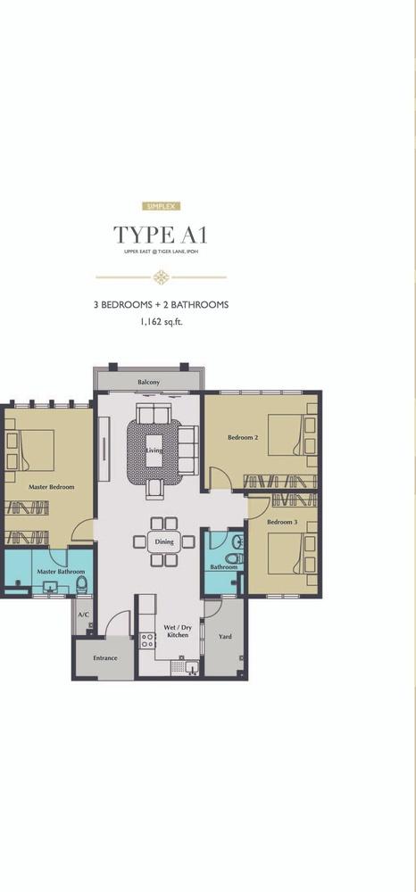 Upper East @ Tiger Lane Type A1 Floor Plan