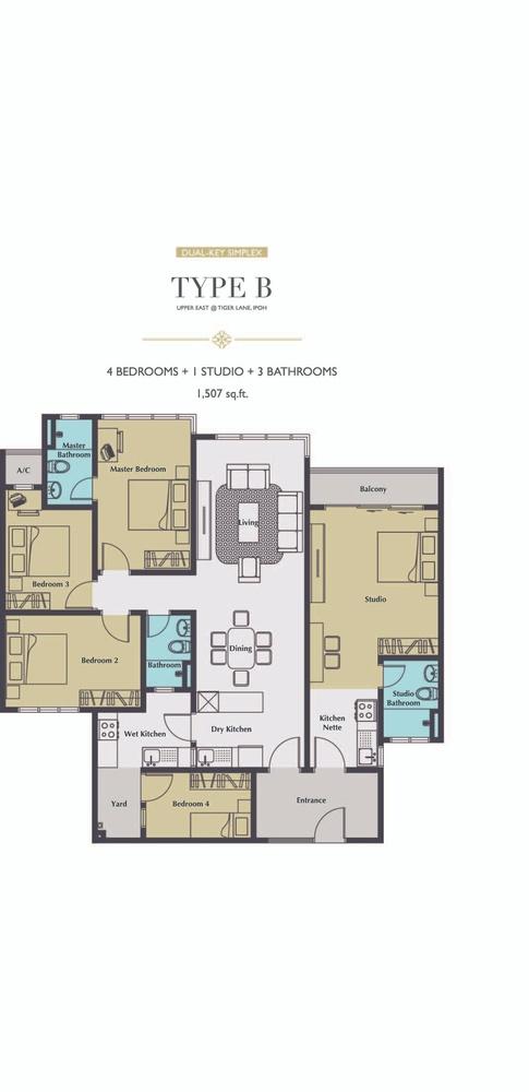 Upper East @ Tiger Lane Type B Floor Plan