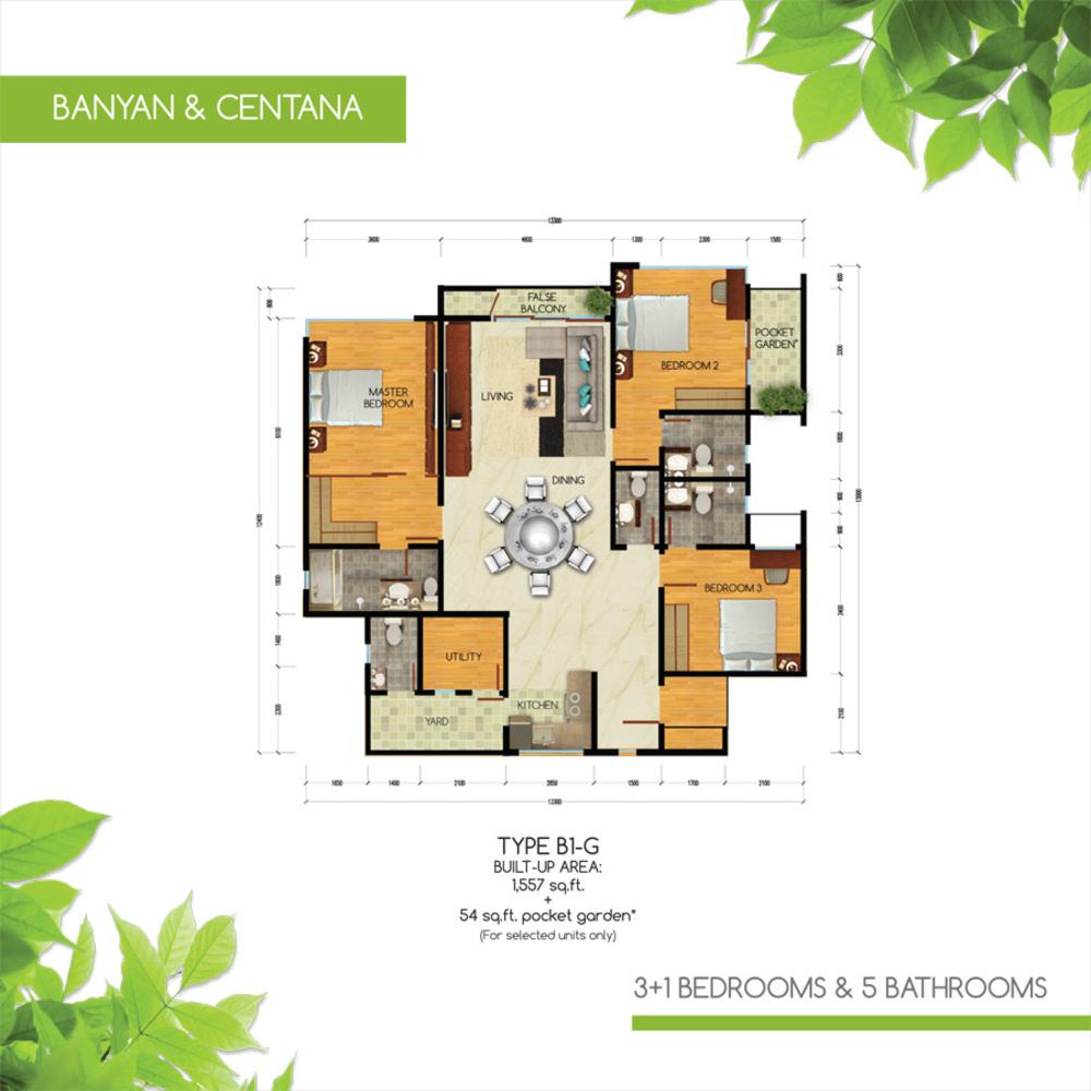 Green Residence Banyan & Centana - Type B1-G Floor Plan