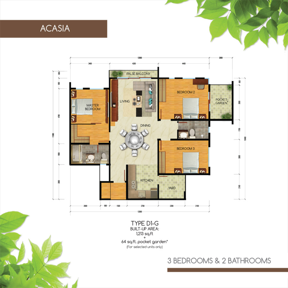 Green Residence Acasia - Type D1-G Floor Plan