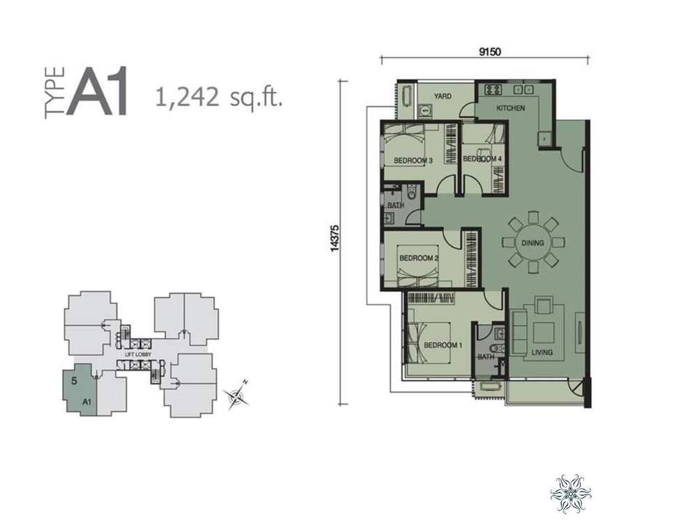 Capella Residenz @ Pacific Star Type A1 Floor Plan