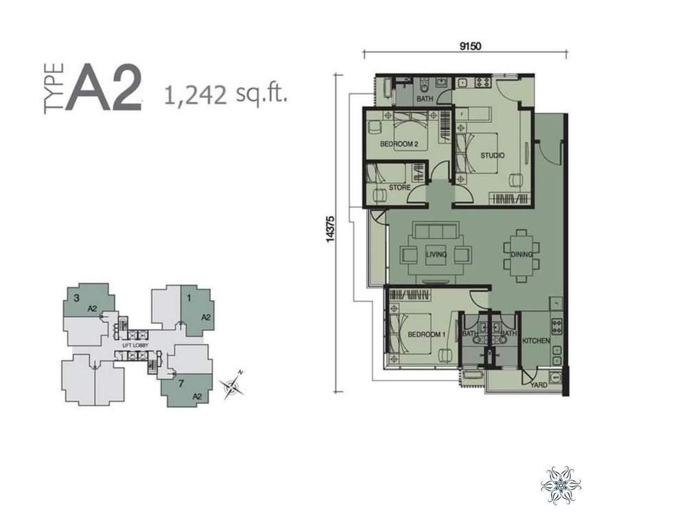 Capella Residenz @ Pacific Star Type A2 (Dual-key Concept) Floor Plan