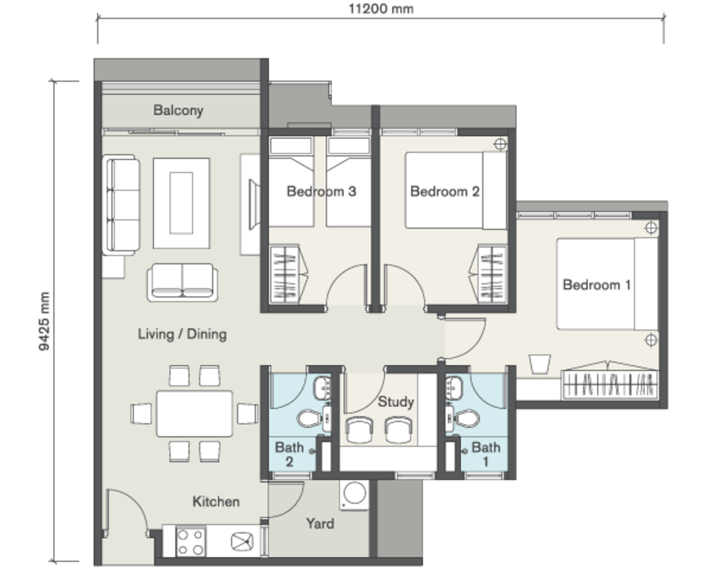 Seasons Garden Residences Type A Floor Plan