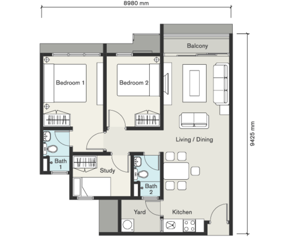 Seasons Garden Residences Type D Floor Plan