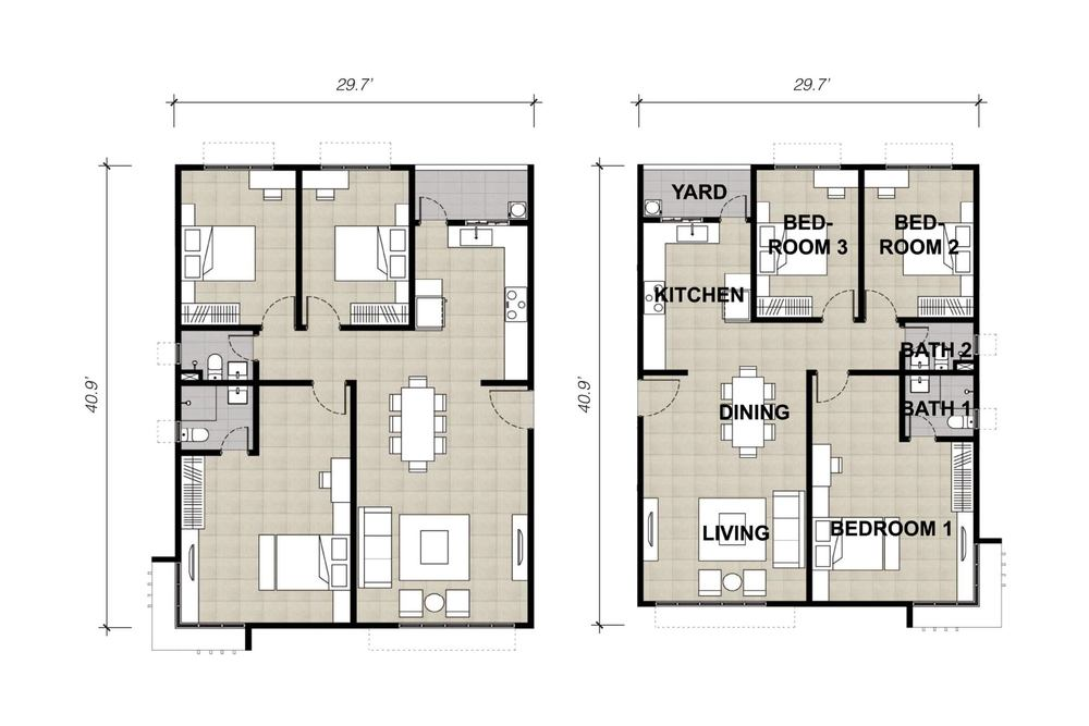 Lake Vista Residence Type 2A & 2B Floor Plan