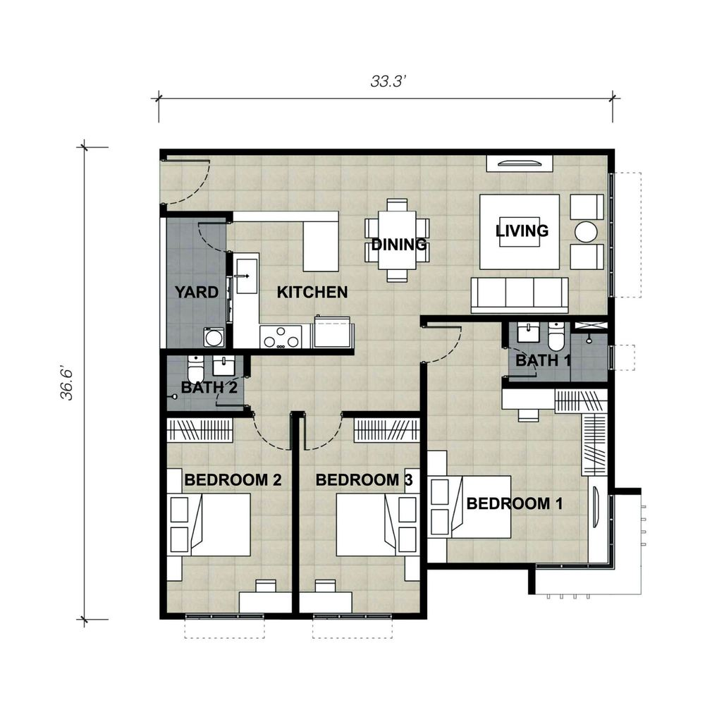 Lake Vista Residence Type 3C Floor Plan