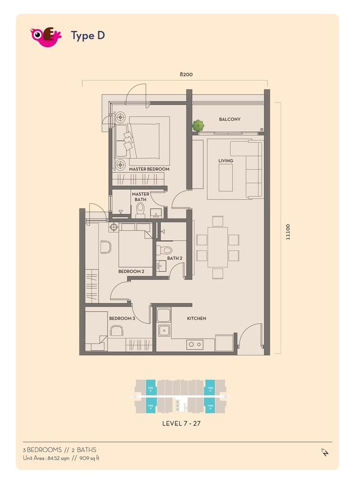 Residency V Type D Floor Plan