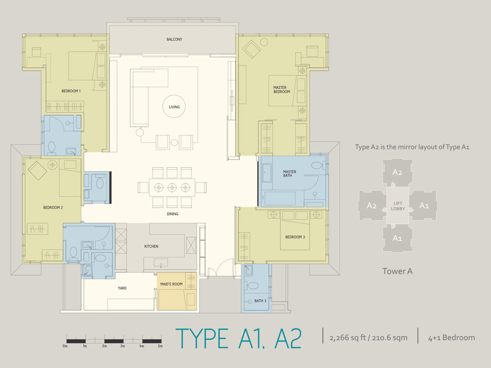 Infiniti3 Residences Type A1 & A2 Floor Plan