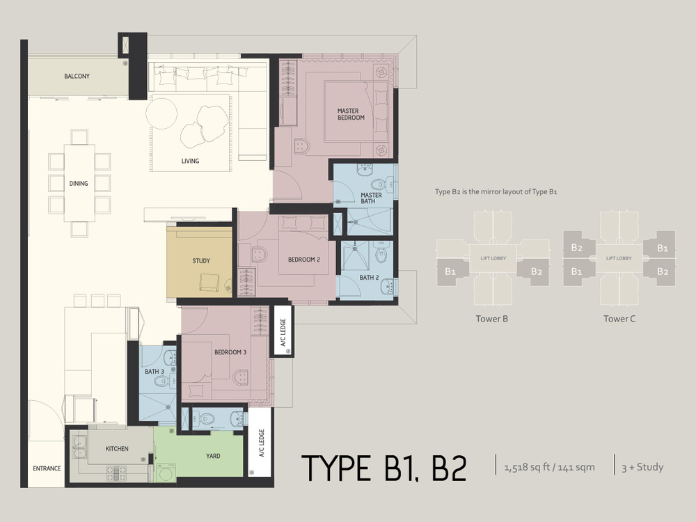 Infiniti3 Residences Type B1 & B2 Floor Plan
