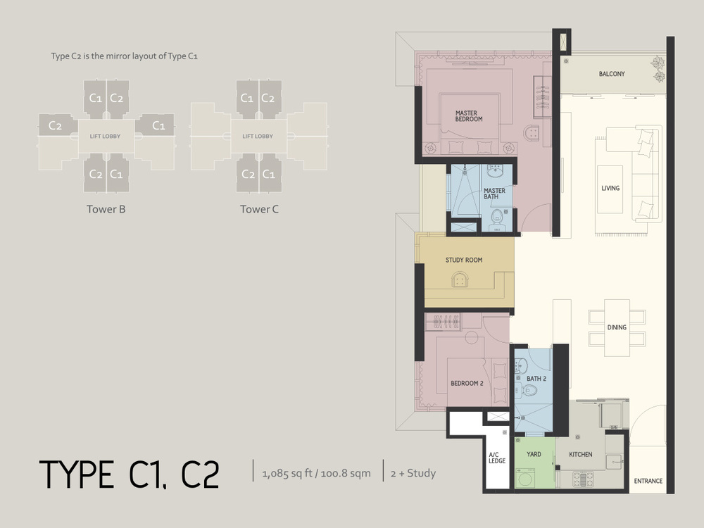 Infiniti3 Residences Type C1 & C2 Floor Plan