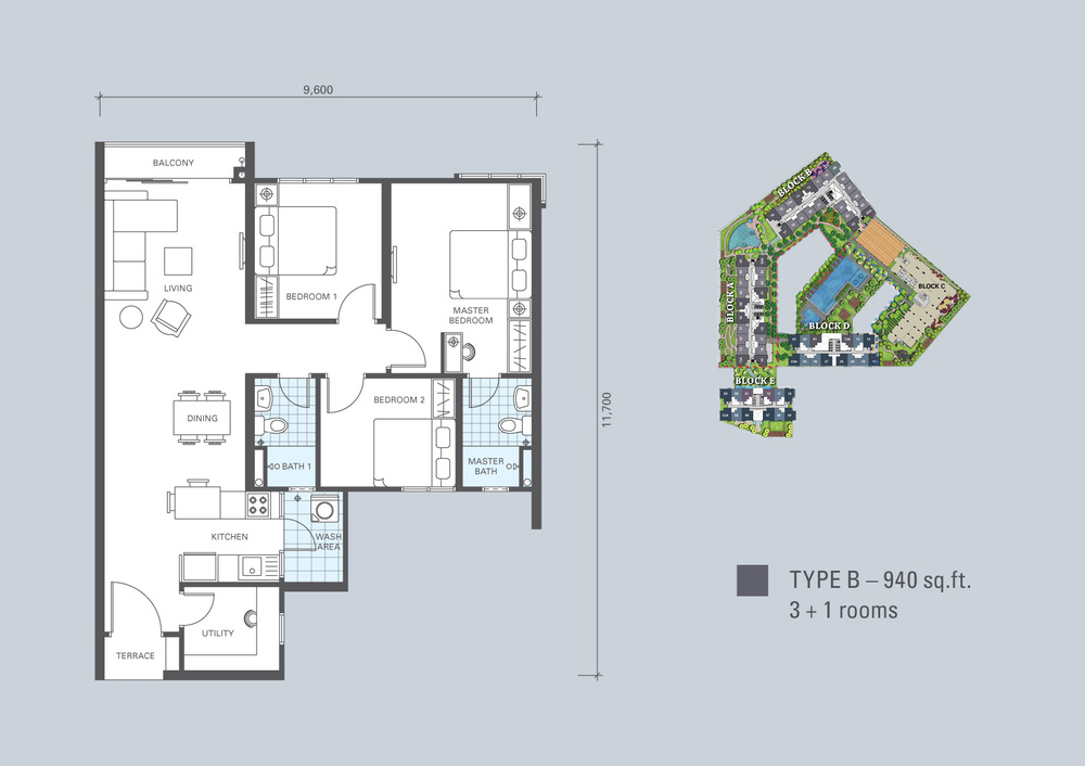 KL Traders Square Type B Floor Plan