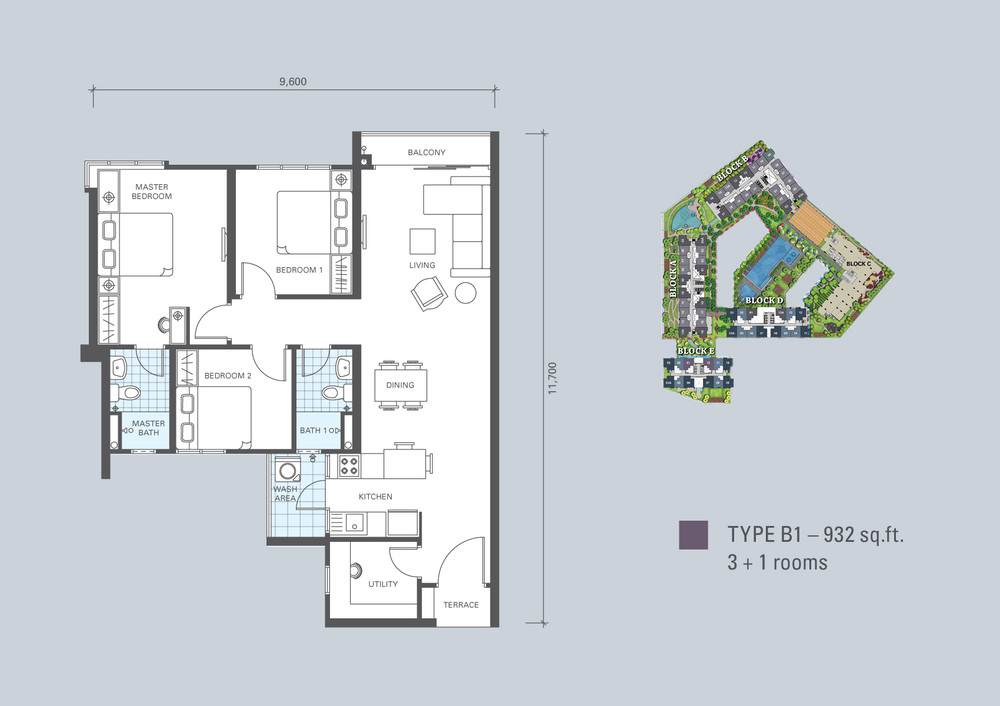 KL Traders Square Type B1 Floor Plan
