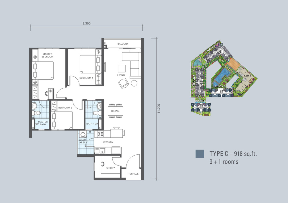 KL Traders Square Type C Floor Plan
