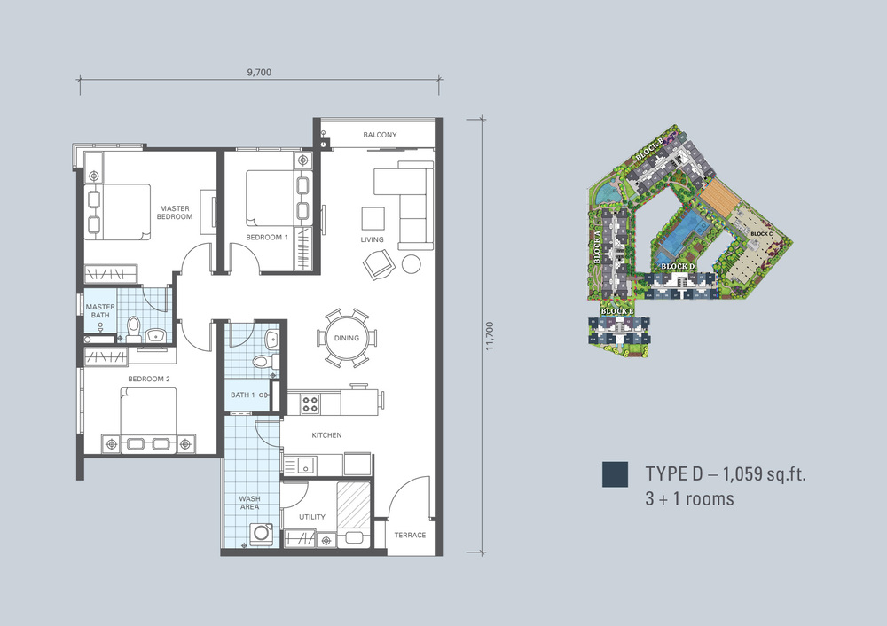 KL Traders Square Type D Floor Plan